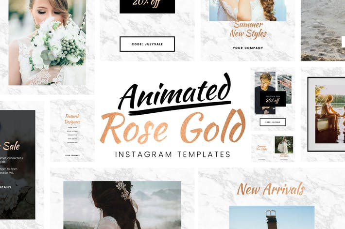 Animated Rose Gold Instagram Templates