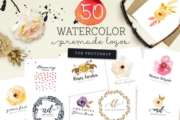 50 Premade Watercolor Logos