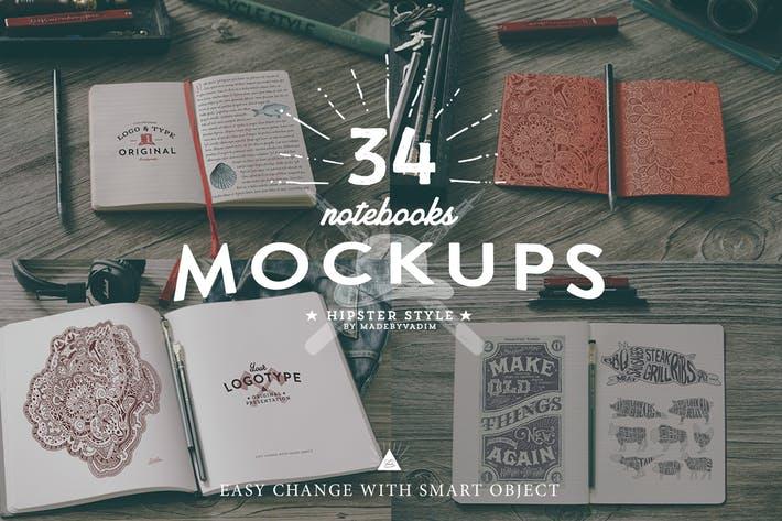 34 Hip Notebook Mock-ups