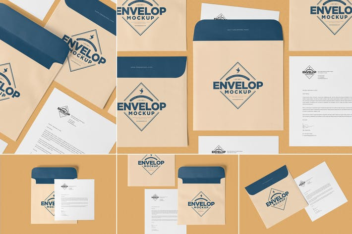 Unique Square Shaped Envelope Mockups