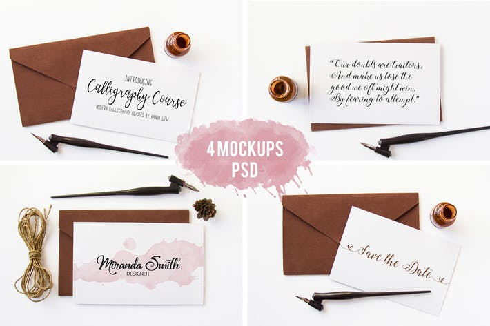 4 Photo Mockups. Calligraphy pen and an envelope