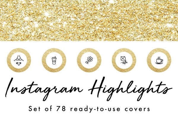 78 Gold Glitter Instagram Highlight…