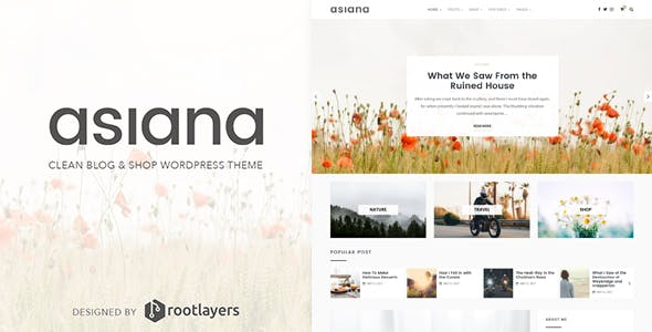 Asiana - Clean Blog & Shop WordPress Theme