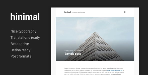 hinimal - Minimal Clean Blog Responsive WordPress Theme