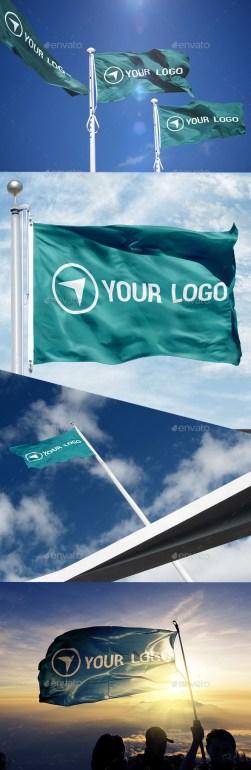 Premium 4 Photorealistic Flag Mockups