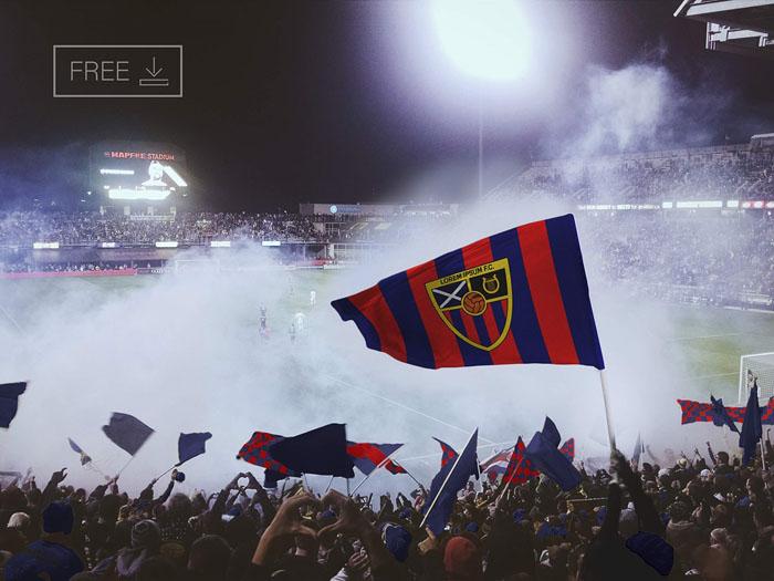 Free Football Soccer Flag Mockup PSD