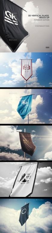 Premium 3D Vertical Flags Mock-Up (Outdoor Edition)