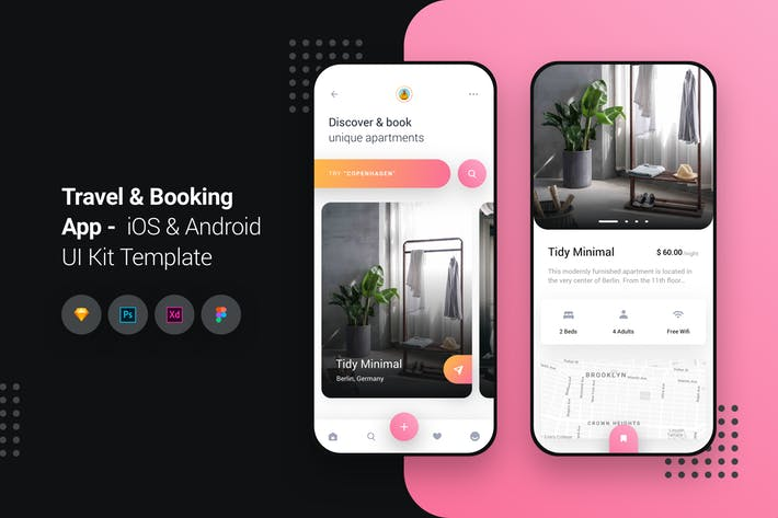 Travel & Booking App iOS & Android UI Kit Template