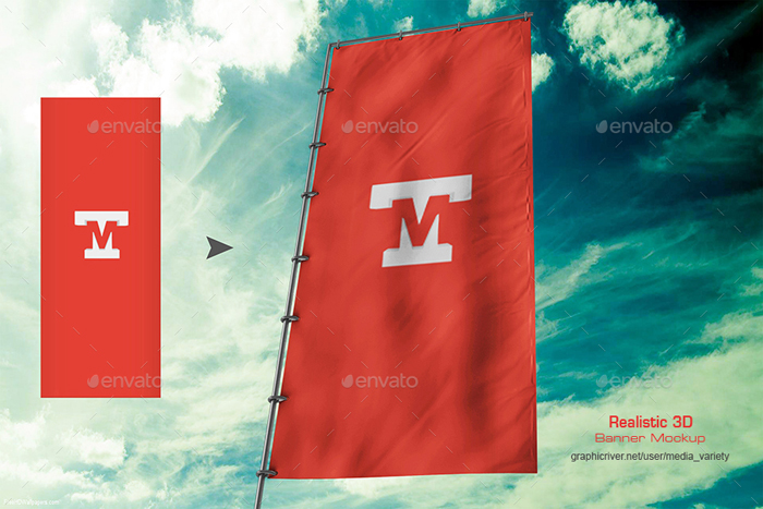 Premium 3D Realistic Flag Banner Mockup V2