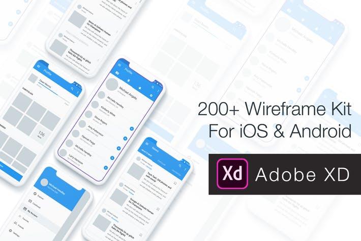 Baseframe - Wireframe UI KIT 200++ XD Version