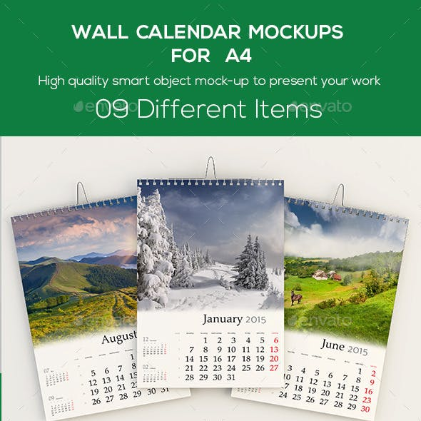 Wall Calendar Mockups For A4