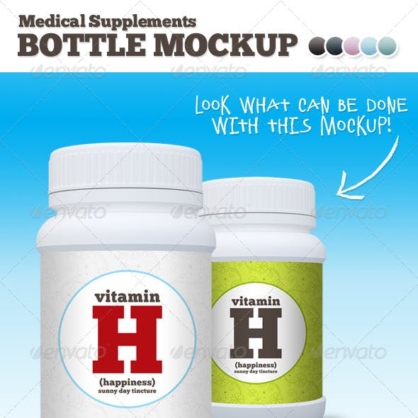 Medical Supplements Bottle Mockup