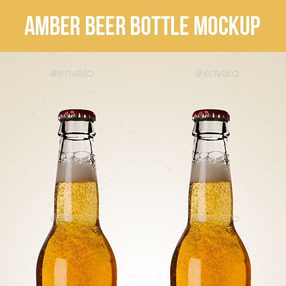 Premium Amber Beer Bottle Mockup
