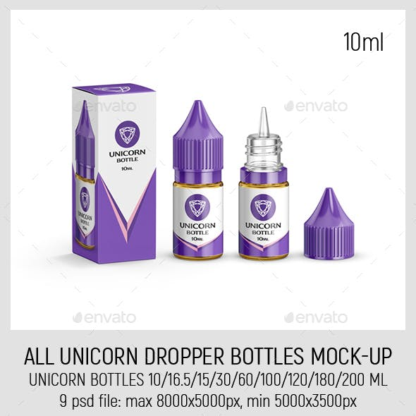 All Unicorn Dropper Bottles Mock-up