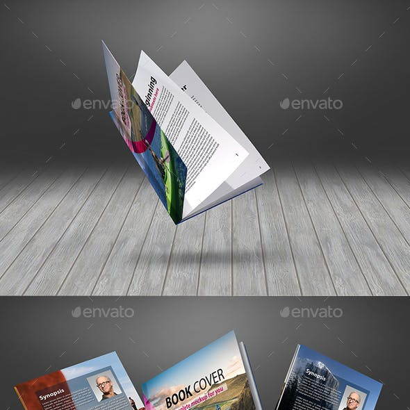 Floating Thin Book Mockup