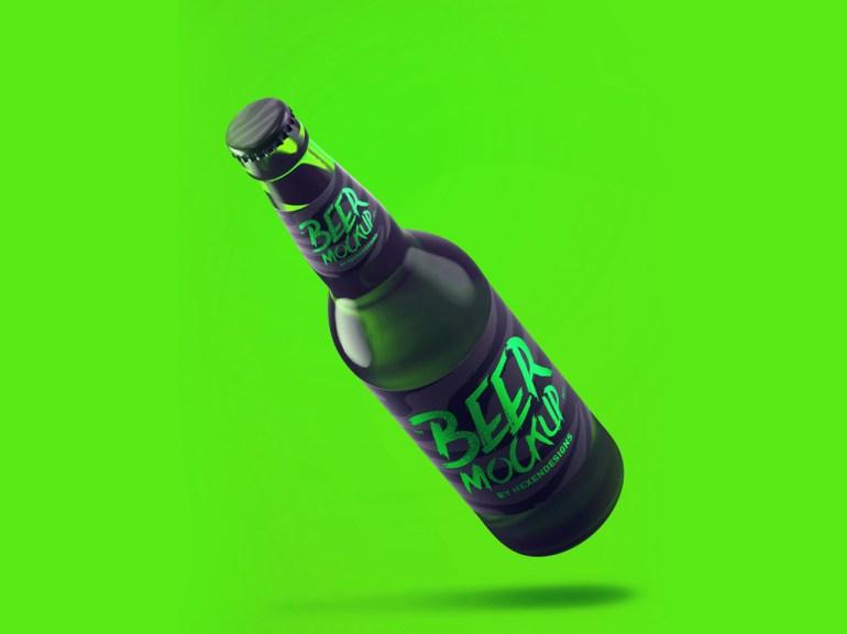 Free Beer Bottle with Labels Mockup