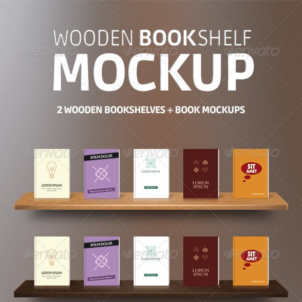 Wooden Bookshelves + Book Mockup PSD