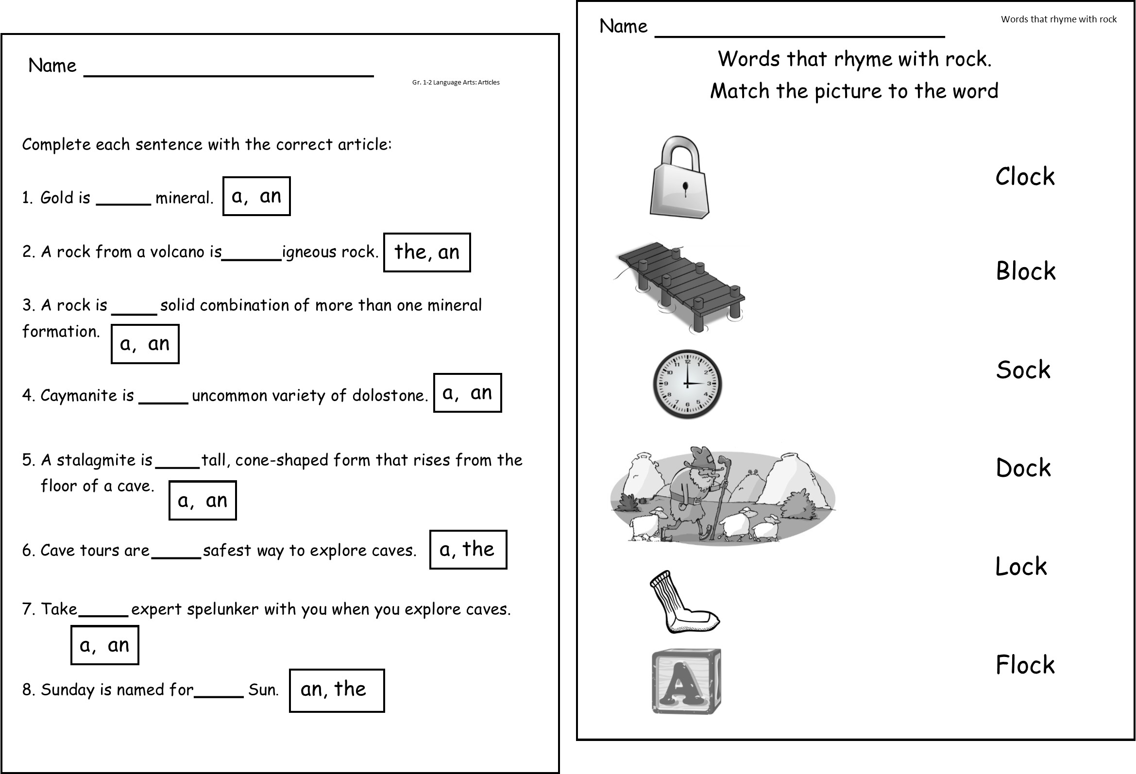 Rocks Worksheet