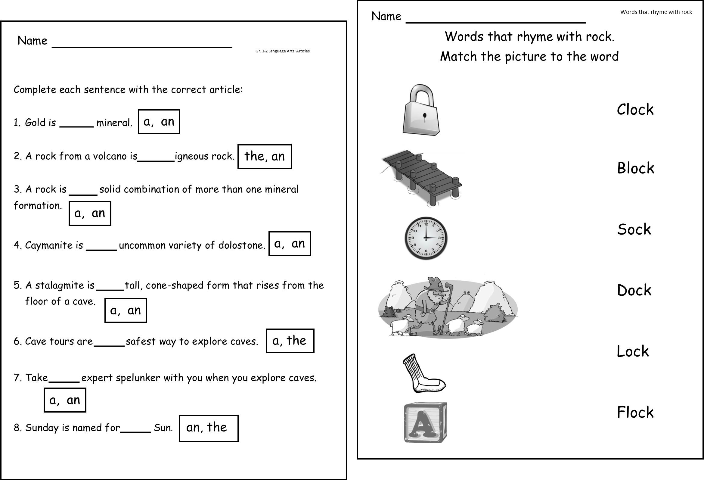 Kindergarten Rocks Worksheet