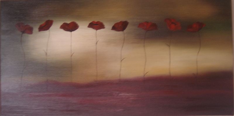 Row of poppies