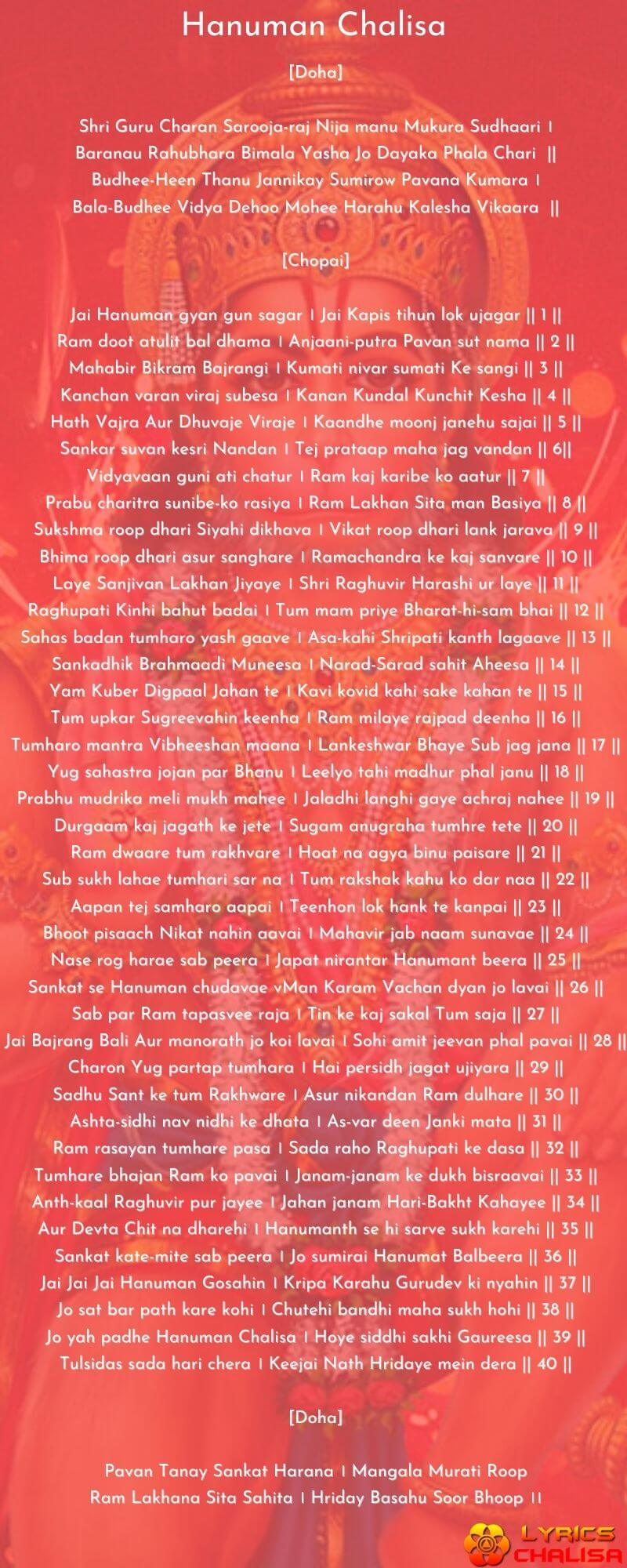 Shree Hanuman Chalisa Lyrics In english With PDF