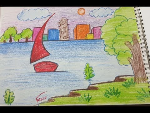 رسم منظر طبيعي للاطفال تعلم طريقه رسم مناظر طبيعيه للاطفال عبارات