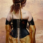 Black gold and amber elven corset and gown