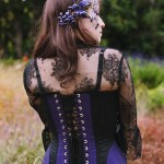 Black and purple gothic steampunk halter corset and butterfly skirt