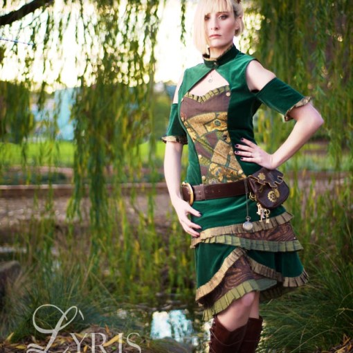 Heterodyne green and gold steampunk outfit