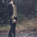Gold silk and brown leather steampunk fantasy waistcoat