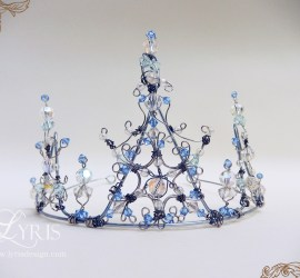 Blue and white crystal ice snow queen crown