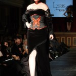 Red and black butterfly corset and velvet gown