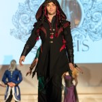 Red and black elvish leather leaf coat