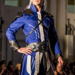 Blue and silver coat and black leather armour