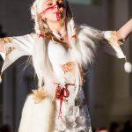 White kitsune fox druid tribal dress and corset