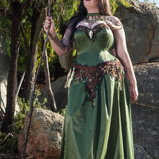 Australian druid shaman corset gown with skull, bones and beads