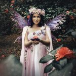 Fae fairy gown pink flowers spring dress