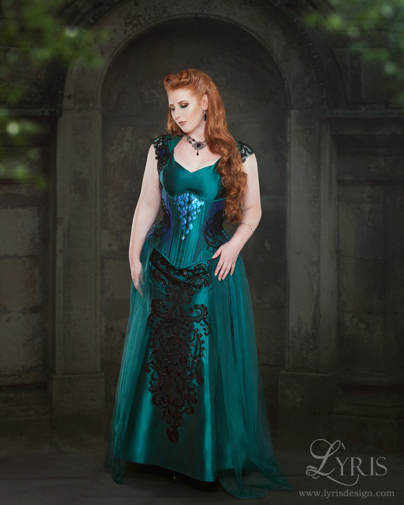 Jade silk corset and gown with dragon scales and beading
