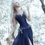 Blue silk and silver crystal beaded corset with flowers and moonstone jewellery
