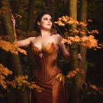 Copper silk coset and gown with sculpted autumn leaves