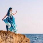 Ocean silk gown and corset