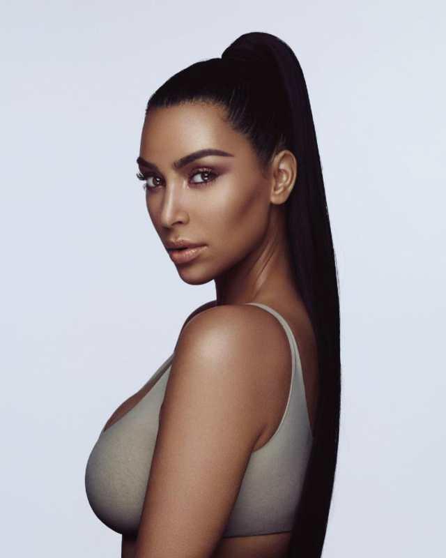 Kim Kardashian with a well contoured face