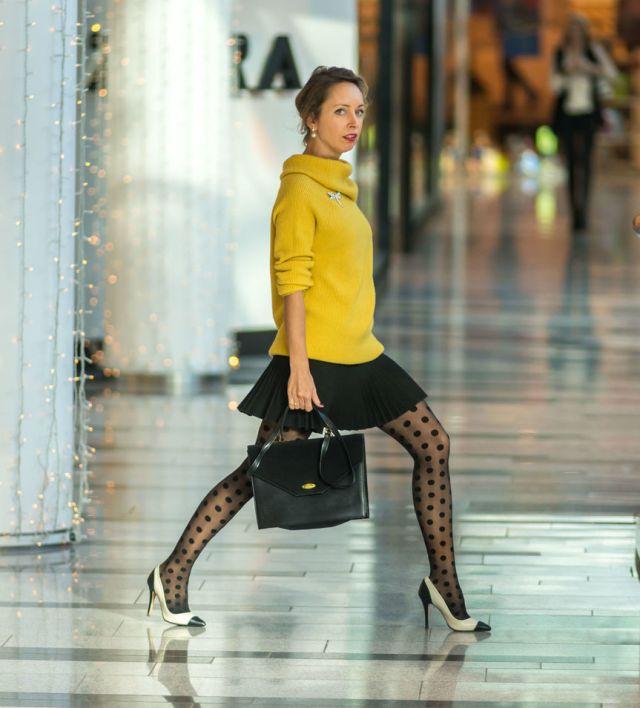 Lady in polka dot stockings