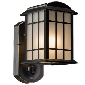 Craftsman Smart Security Oil Rubbed Bronze Metal and Glass Outdoor Light Fixture w/ Camera