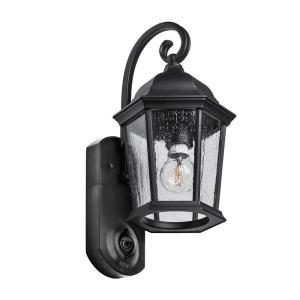 Coach Smart Security Black Metal and Glass Outdoor Light Fixture w/ Camera