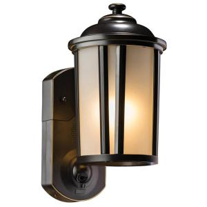 Traditional Smart Security Oil Rubbed Bronze Metal and Glass Outdoor Light Fixture w/ Camera