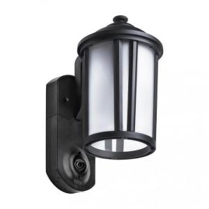 Traditional Smart Security Black Metal and Glass Outdoor Light Fixture w/ Camera