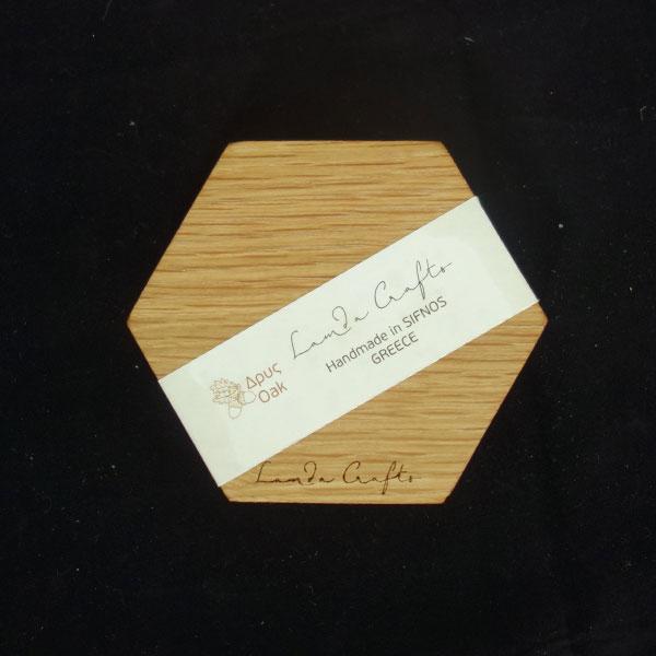 ξύλινο σουβέρ εξάγωνο σετ 4 τεμάχια
