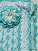 """Turquoise Sea Shell"" Baby Blanket With Flower"