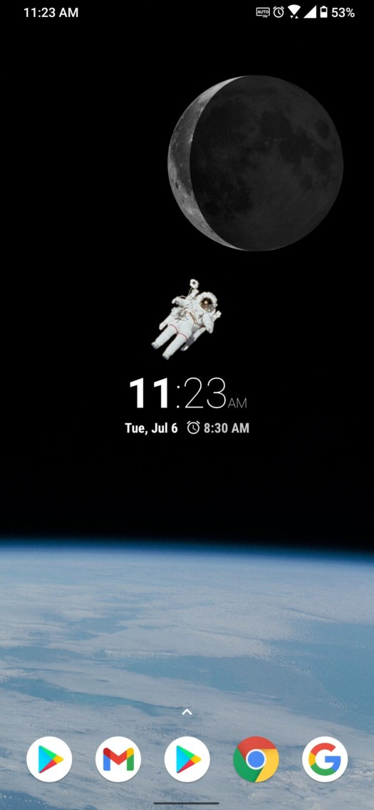 A time widget to keep the spaceman company. - Android Refresh Tuesdays – Space theme